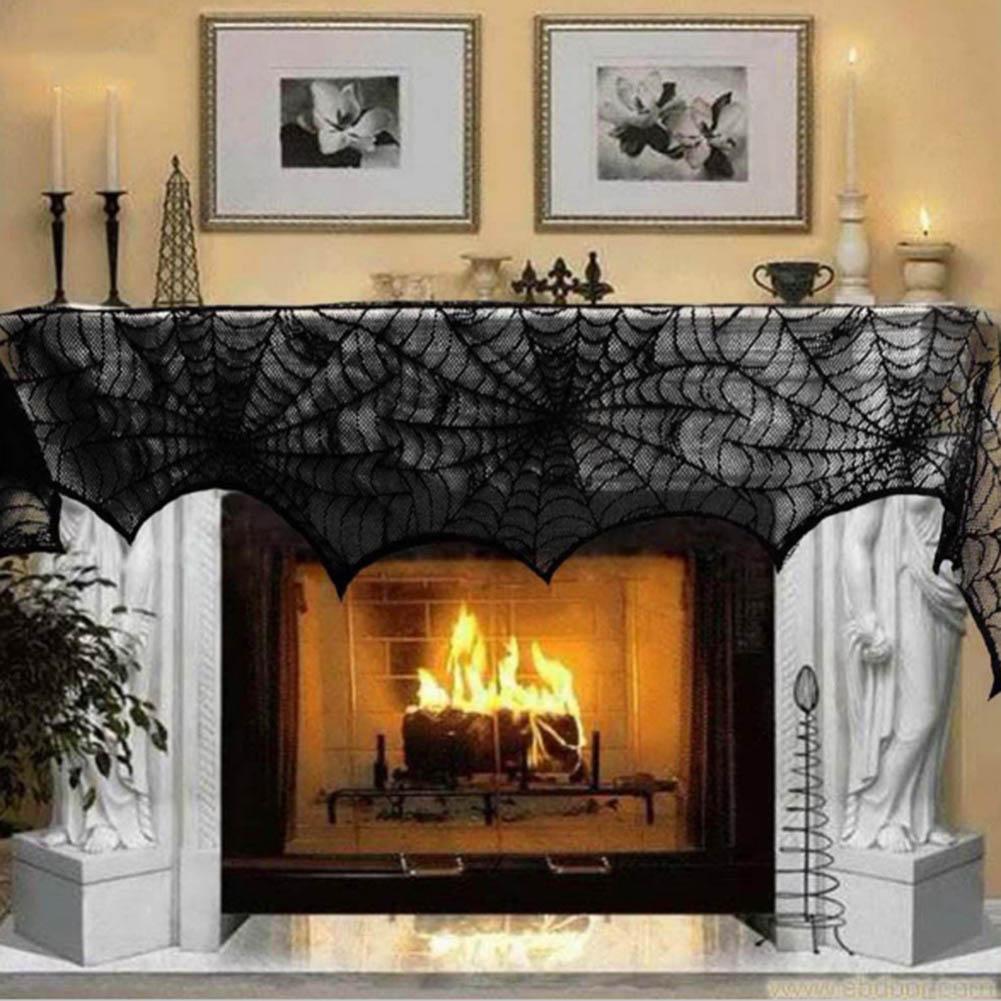 nueva decoracin de halloween telaraa chimenea manto bufanda de encaje negro tela de araa para el