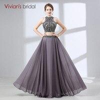 Vivian's Bridal Beaded Crystal vestido de festa long evening dress Halter neck wedding party formal dress evening dresses