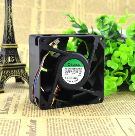 Wholesale: Original SUNON PSD4808PMBX-A DC48V 8038 80* 80*38mm 8cm 4-line Axis Cooling Fan Radiator