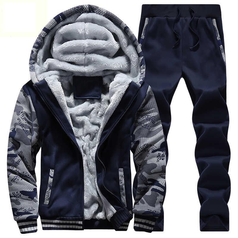Спортивный костюм для мужчин зимний толстый внутренний флис 2 шт. куртка + брюки мужские камуфляжные армейские повседневные теплые толстовки с капюшоном Мужские Moleton Masculino