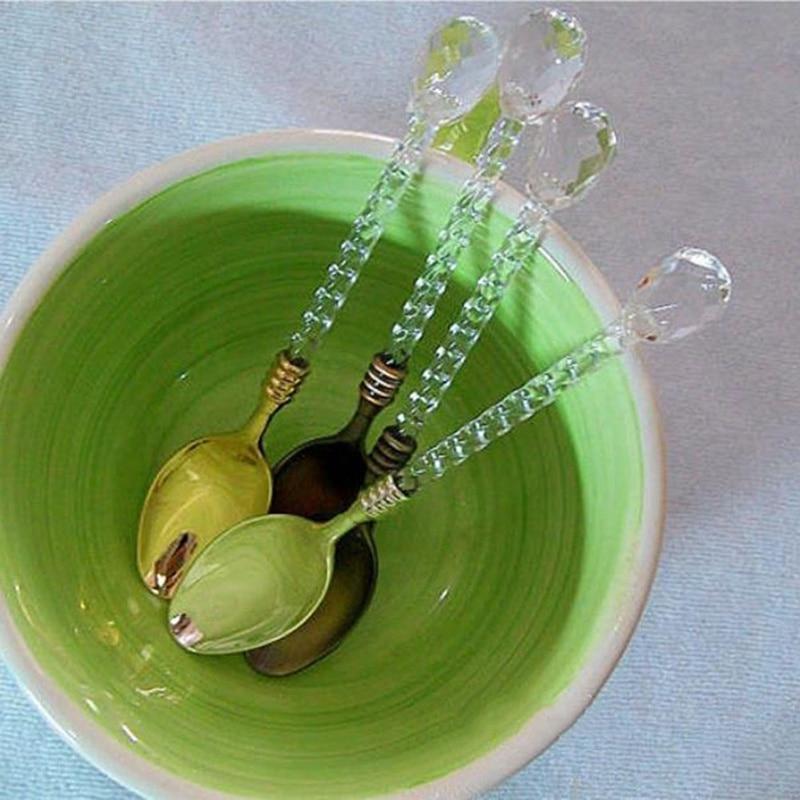 Новая горячая Хрустальная ручка чайная кофейная ложка для мороженого десертная поварешка для дома/бара