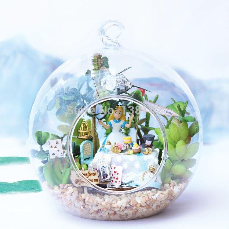 B011 DIY Dollhouse Miniature Glass Ball Miniatures Wooden Doll House Handmade Toy -- Alice Forest Tea