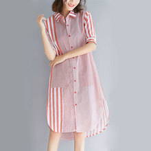 New Girl's Shirt Dress Spring and Summer 2019 Fashion Loose Stand Collar Half Sleeve Long and Straight Striped Shirt Dress недорого