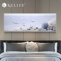Modern Design Framed Handmade Tide Seascape Oil Painting with Starfish and Shell Wall Art Pictures