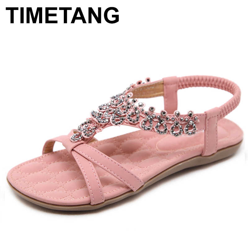 d4c93939c TIMETANG 2018 New Summer Ladies Shoes Flower Crystal Flat Sandals Women Big  Size sandalias mujer Bohemia
