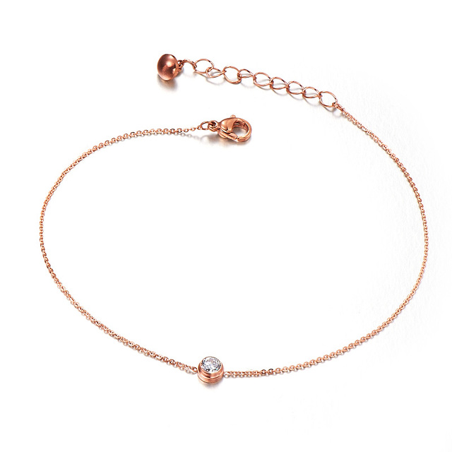 Stainless Steel Rose Gold Color Pendant Bracelet Round Single Crystal Link Chain For S