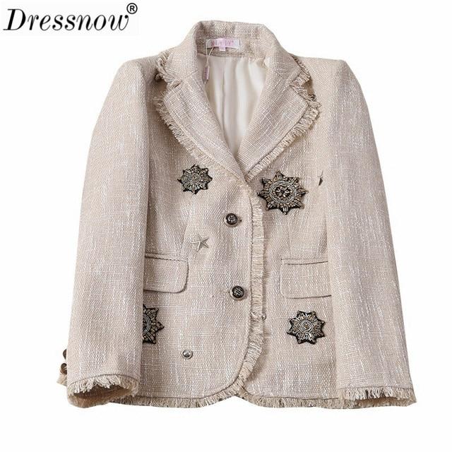 Dressnow Women High Quality Jacket Autumn Fall Winter Jacket Ladies Heavy Tweed Long Sleeve Outwear Coat Female Applique Jacket