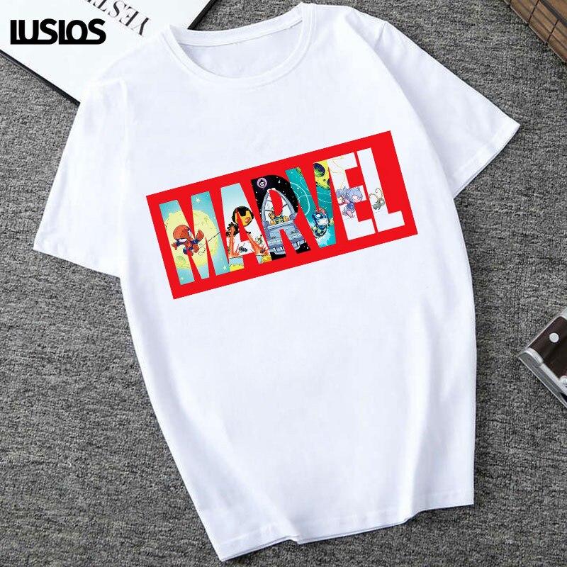LUSLOS Cartton Marvel Print T Shirt Women White Casual Letter Print Tshirt Female Streetwear Superheros Fans T-shirts