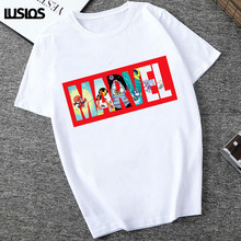 LUSLOS Cartton Marvel t-shirt z nadrukiem t-shirt z nadrukiem t-shirt z nadrukiem t-shirt z nadrukiem tanie tanio Lus Los COTTON Poliester Elastan NONE Tees Letter Topy Krótki REGULAR XWT0323 Suknem Kobiety O-neck Na co dzień