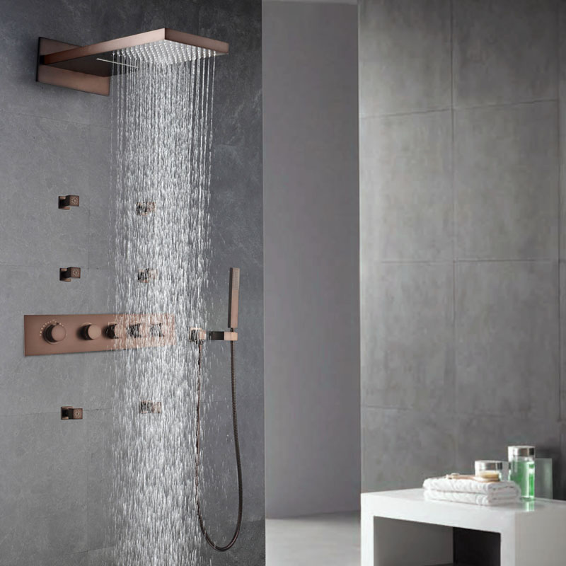 ORB Rainfall Shower Head Oil Rubbed Bronze Thermostatic Shower Faucet Sets Shower Spray Body Jets Massage Spa Waterfall Showers allen roth brinkley handsome oil rubbed bronze metal toothbrush holder