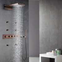 ORB Rainfall Shower Head Oil Rubbed Bronze Thermostatic Shower Faucet Sets Shower Spray Body Jets Massage
