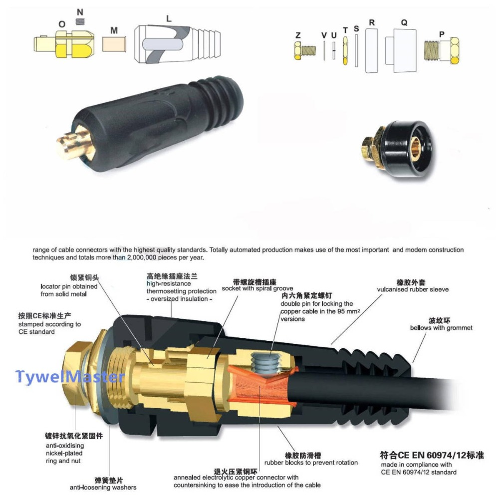 100A-200A Durable 10-25mm2 European Electric Socket Welding Machine Plug Socket DKJ 10-25 Rapid Fitting Cable Connector