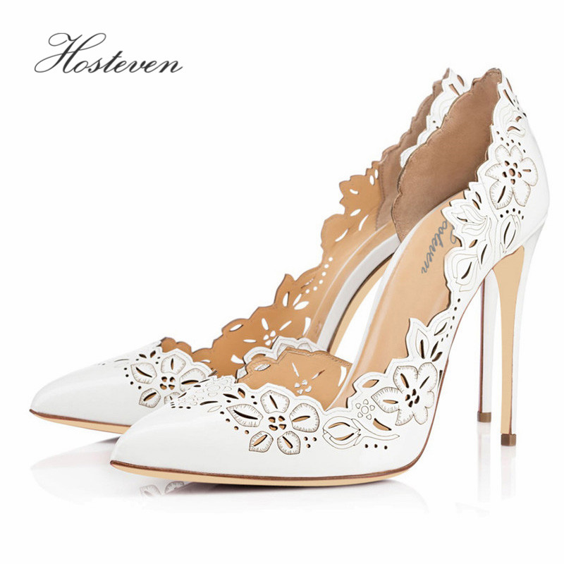 Hosteven Women's Shoes Spring Autumn Solid Flower Pumps Sexy Lady Super High Thin Heel Pointed Toe Ladies Pumps  Plus Size 34-46 spring autumn shoes woman pointed toe metal buckle shallow 11 plus size thick heels shoes sexy career super high heel shoes