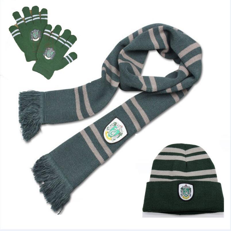 Hogwarts School Hermione Ronald Women Scarf Hat Caps Beanies Tie Gloves Knitting Gryffindor Cosplay Costumes