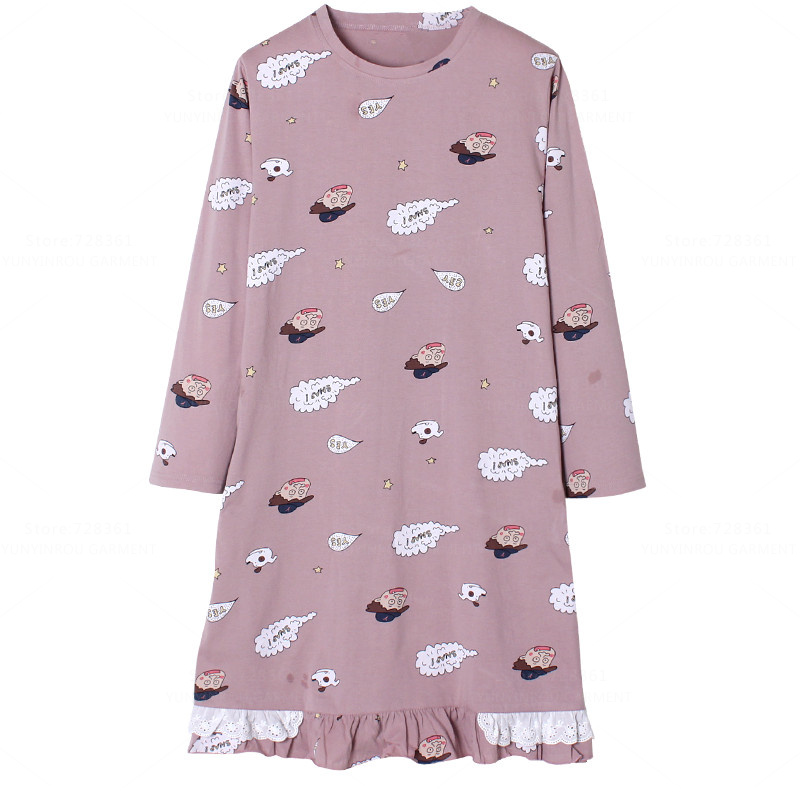 2017 100% Cotton   Nightgown   Women Nightdress Cartoon Sleepwear Big Version   Nightgowns   Lady   Sleepshirts   Dress Lounge Home Clothing