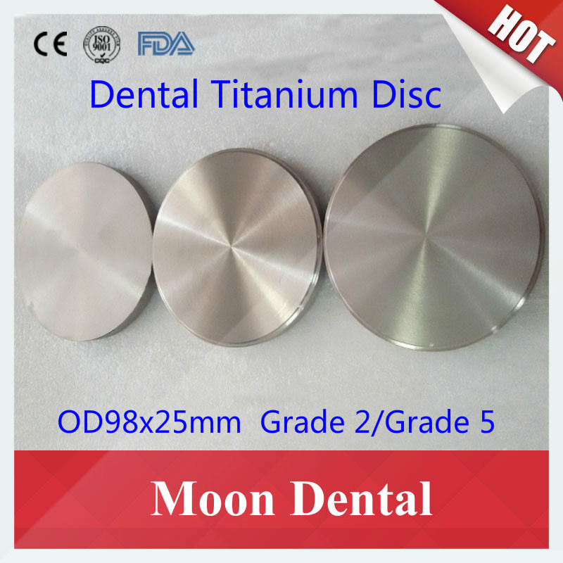 1 Piece Dental Titanium Blocks OD98x25mm Grade 2/Grade 5 Dental CAD CAM Milling Material Dental Titanium Blank Discs for Implant grade 5 titanium cad cam milling machince discs 98mm 16mm dental lab cad cam milling material
