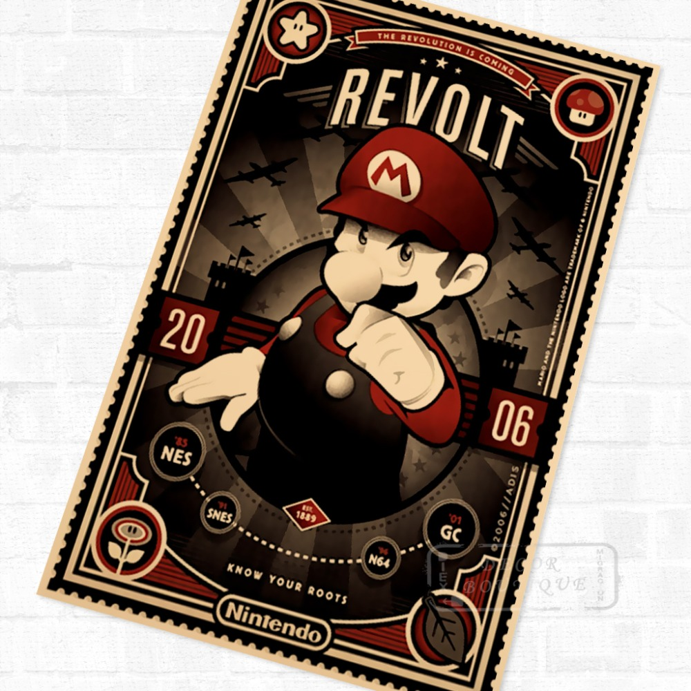 Super Mario Bros Vintage Video Games Propaganda Poster