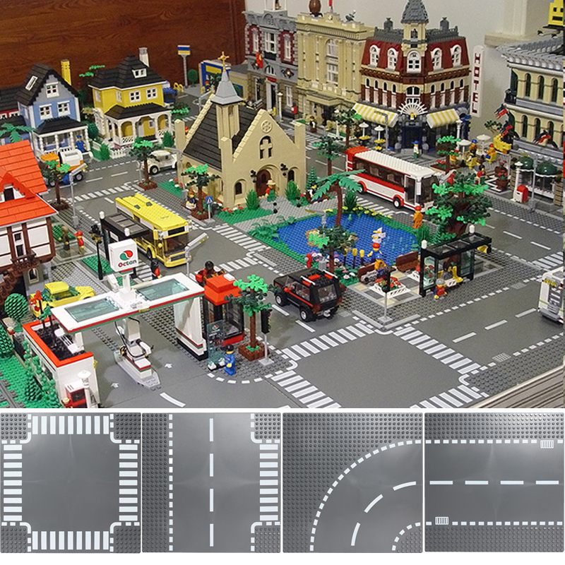 Road Plate Straight Crossroad Curve T Junction Building Blocks Compatible LegoINGlys City Parts Bricks Base Plate