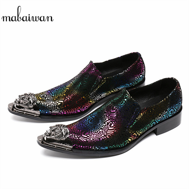 Mabaiwan 2018 Fashion Men Shoes Metal Top Wedding Dress Shoes Men Flats  Espadrilles Leather Ankle Boots Men Slip On Casual Shoes 4abd7f3243ce