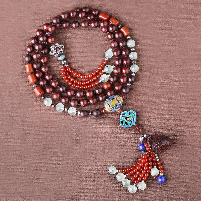 Collier en bois de santal rouge lobulaire femelle longue section rétro style national ornement chaîne 925 pendentif en argent
