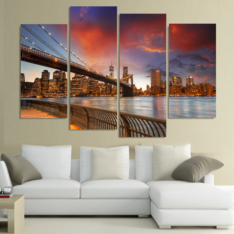 4 Piece Modern Wall Oil Painting Rome Taming Field Scenery Home Decorative Art Picture Paint on Canvas Prints Cuadros Decoracion
