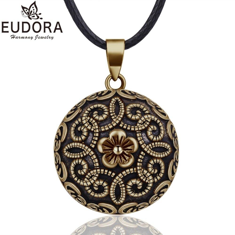EUDORA Harmonie Balle Vintage Bronze Collier Carillon Bola Pendentif Fleur pour les Femmes Mode Bijoux Cadeau Mexicain Grossesse Boule
