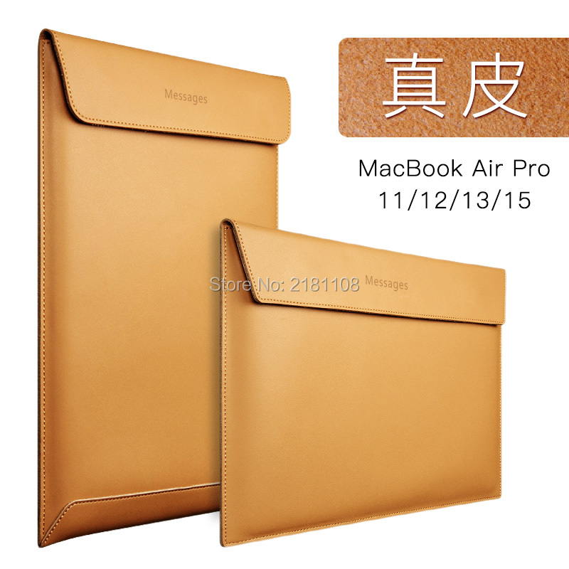 "Premium Real Ultrathin Genuine Leather Envelope Sleeve Bag Case Cover Pouch for MacBook  Air 11"" 12"" 13"" 15"" Pro Retina