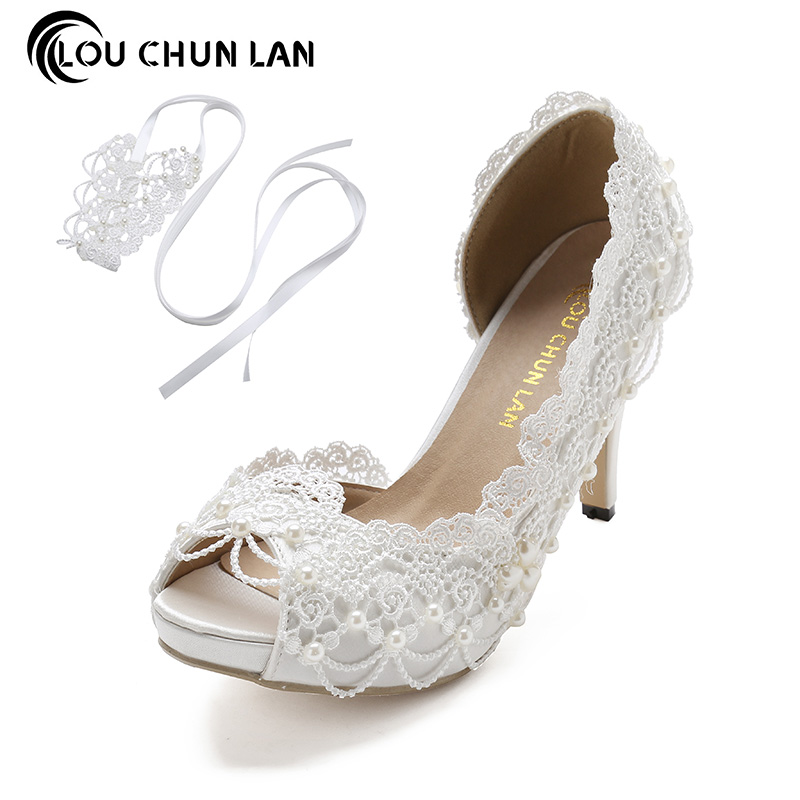 LOUCHUNLAN Women Pumps Lace wedding shoes Ankle strap High Heels Satin Peep Toe Elegant Summer size 41-43 Drop Shipping women luxury shoes platform pumps bridal wedding lolita shoes black red beige bottom peep toe high heels fetish shoes size 4 16