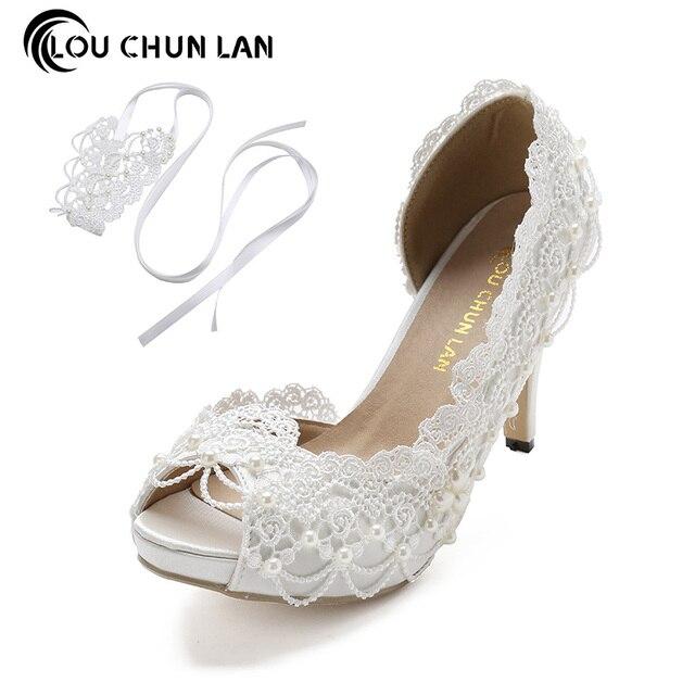 Louchunlan Women Pumps Lace Wedding Shoes Ankle Strap High Heels Satin P Toe Elegant Summer Size