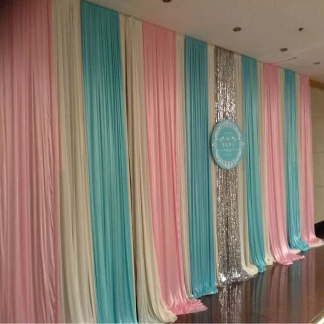 3M*6M Fashion Colorfui Ice Silk Wiht Sequins Swag Wedding Backdrop Curtain Baby  Shower Backdrop