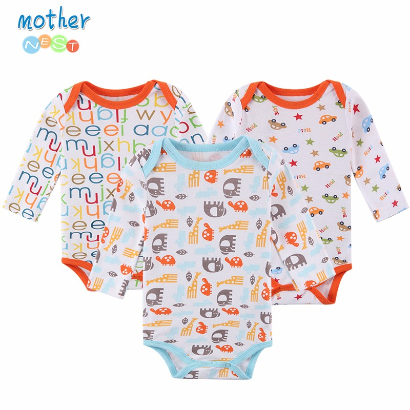 Mother Nest 3PcsLot Baby Rompers Long Sleeve 100% Cotton Baby Clothes Babies Jumpsuits Clothing Sets Comfortable Baby Rompers