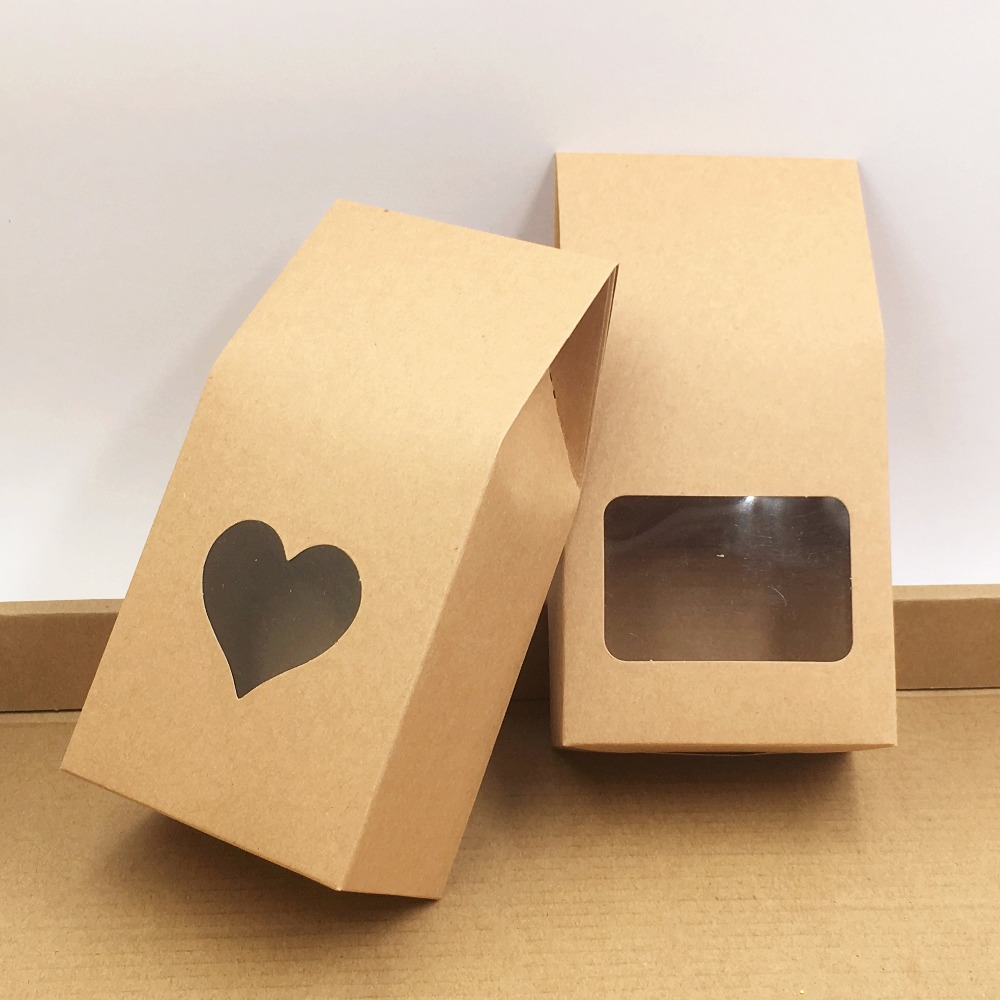 50pcs Kraft Paper Party/Wedding Gift Bags,Cake/Chocolates/Candy Packing Bags Stand Up Food Clear PVC Window Seal Boxes 8*16*5cm