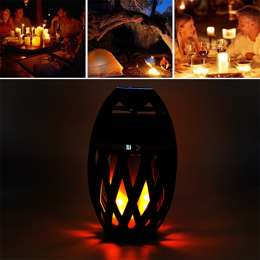 Novelty Flame LED Night Light Bluetooth Speaker USB Charging Portable Outdoor Atmosphere Lamp for Dacing Party kmashi led flame lamp night light bluetooth wireless speaker touch soft light for iphone android christmas gift mp3 music player