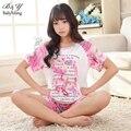 LIKEPINK 2017 Pijama Feminino Pijamas de Verão Para A Mulher Bonito Dos Desenhos Animados Menina Conjuntos de Roupa Em Casa de Manga Curta Pijama Mulheres Pijamas