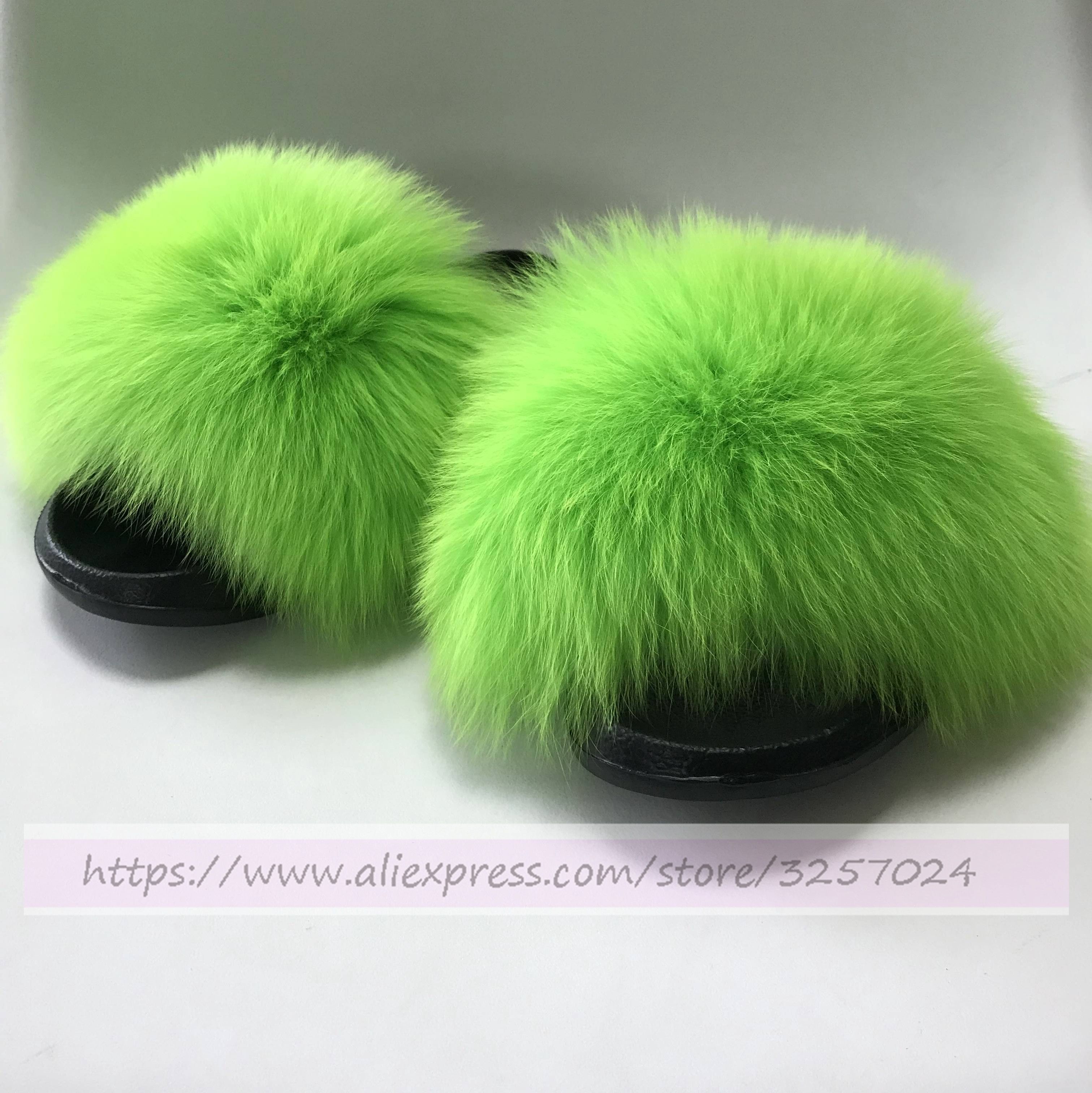 Magicfur - Dark Neon Green Real Fox fur Slipper Camel Fur Sandal Slades Outdoor Indoor Flat Slides Shoes