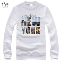 Hanhent new york gedrukt ronde kraag sweatshirts mannen katoen lange mouwen clothing streetwear herfst lente casual hoodies