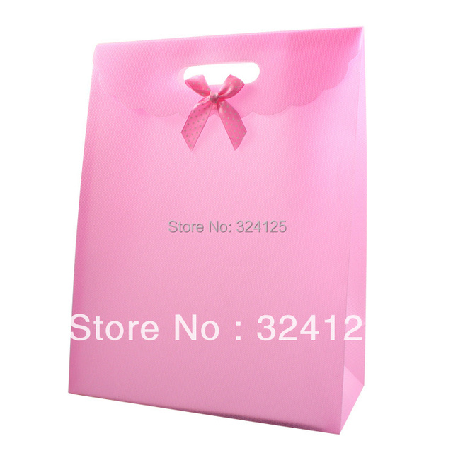 Free shipping 20pcs/lots 31.5*24*12cm Pink PP gift packaging bag,thickening holiday gift bag,accessorie packaging bag