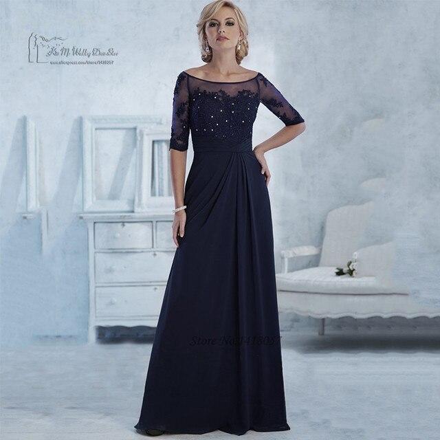 Azul marino madre de la novia viste manga corta Lace partido vestido de noche Robe de soirée madrina vestidos trajes de pantalón de gasa