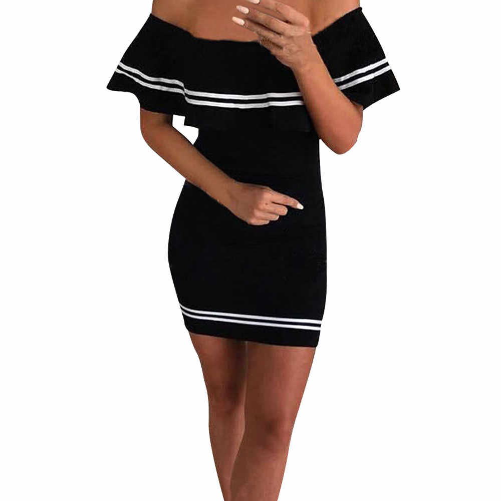 NEW Party Ruffles Short Mini Dress Womens Sexy Cold Off Shouder Striped Bodycon  Dress Vetement Femme 46a312becbd3