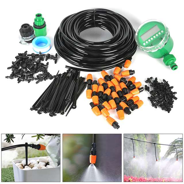 25M Automatic Water Timer Valve Smart Controller Garden Watering DIY Micro Drip Irrigation System With Adjustable Dripper