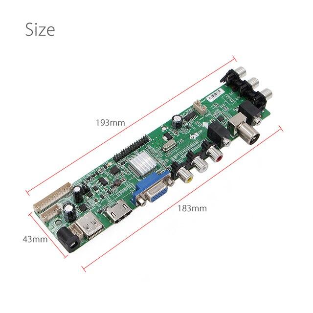 3663 Digital TV Signal DVB-T2/T/C Universal LCD TV Controller Driver Board+7 Key Button+1Ch 6bit 40pin Russian Monitor Refit