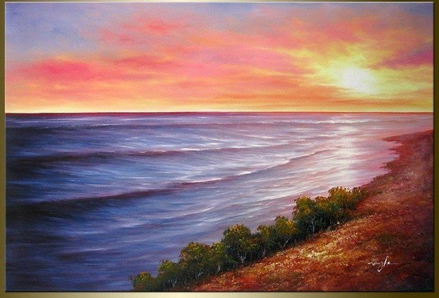 hand gemalt sonnenuntergang ruhigen see hauptdekoration landschaft lbild auf leinwand 16x16inch. Black Bedroom Furniture Sets. Home Design Ideas