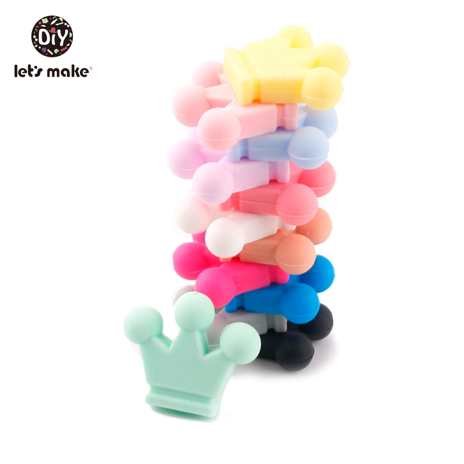 Let's Make Baby Teether  Silicone Candy Crown 20PC Unfinished Silicone Crown Materials Nursing Teether Pendants Crafts Charms