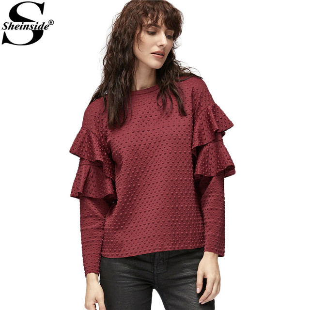 Sheinside New Women Clothing Office Blouses Women Vogue Burgundy Polka Dot Embossed Layered Ruffle Sleeve Blouse