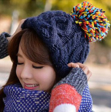 Korean female models fall and winter hat colored hair ball Miss Mao Xianmao  Winter Cable Knit hat skullies A-85 8c3c1ea8780