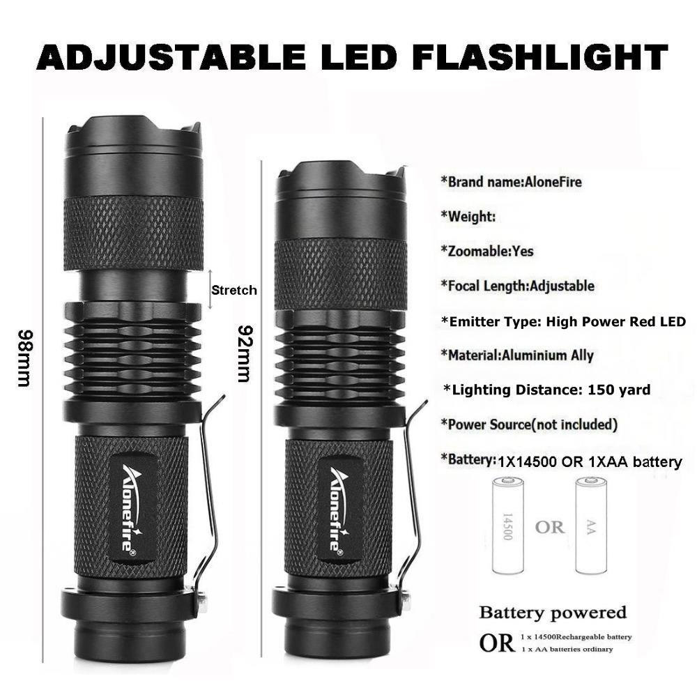 LED Red Light Flashlight Torch For Night Outdoor Work Star Gazing Beekeeper