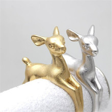 Fashion Deer Animal Ring Jewelry Gold/Silver Plated Deer Ring Adjustable Couple Ring Jewelry Gift For Her(China)