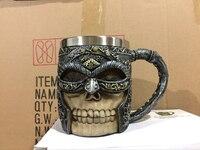 New Style 3D Resin Skull Mug 400ml Skull Beer Mugs Drinkware Masked Knight Casing Resin Stainless Steel Mugs