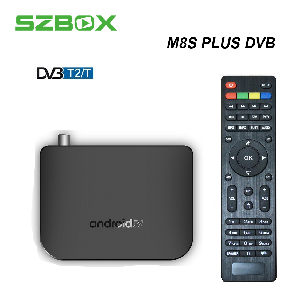 SZBOX MECOOL M8S PLUS DVB-T2/T Android TV Box Amlogic S905D Quad Core 1GB 8GB 1080p 4K 30fps Youtube Google Play Store Netflix android 7 1 1gb 8gb dvb t2 quad core ott bt4 0 h 265 mpeg 4 dvb t2 tv tuner support netflix youtube google 4k smart set top box
