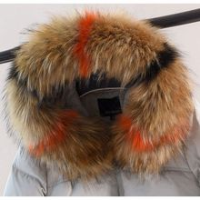 ne Winter women Big faux fur collars winter fake hood collar big raccoon scaves Colorblock